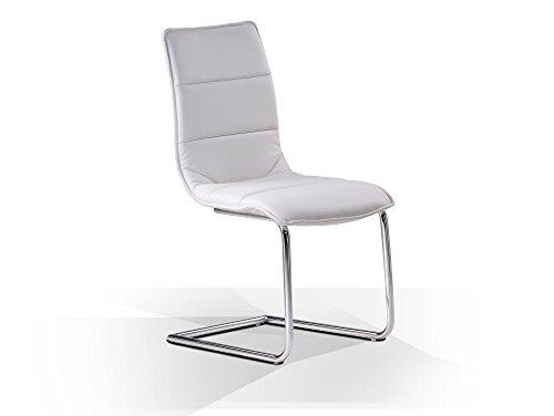 moebel-eins Milano Freischwinger Esszimmerstuhl Schwingstuhl Stuhl weiß