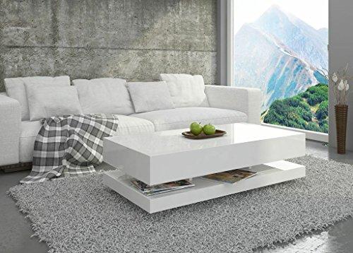 Couchtisch Hochglanz Weiß Wohnzimmer Tisch Beistelltisch Kaffeetisch - Tora - 120x60 / 90x60 (90x60x45)