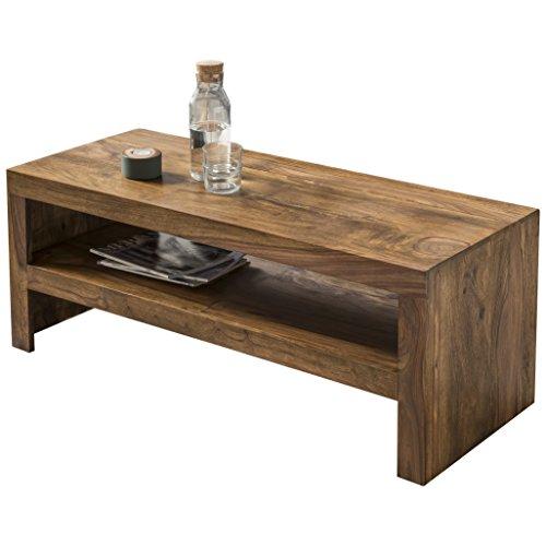 FineBuy Couchtisch Massiv-Holz Sheesham 110 cm breit Wohnzimmer-Tisch Design dunkel-braun Landhaus-Stil Beistelltisch Natur-Produkt Wohnzimmermöbel Unikat modern Massivholzmöbel Echtholz rechteckig
