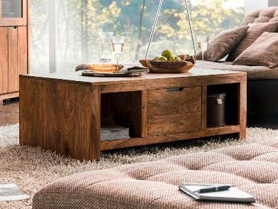 WHITNEY Mountain Couchtisch Wohnzimmertisch Tisch Massivholztisch Holztisch Sofatisch Beistelltisch Kaffeetisch sheesham gebeizt