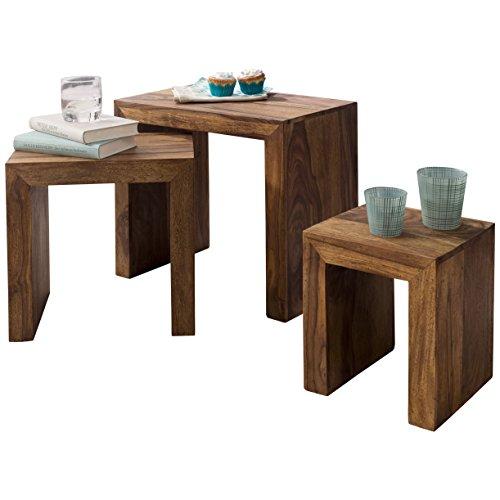 Wohnling 3er Set Satztisch Massivholz Sheesham Wohnzimmer-Tisch Landhaus-Stil Beistelltisch Naturholz Couchtisch Natur-Produkt Wohnzimmermöbel Unikat Massivholzmöbel Anstelltisch Echtholz dunkel-braun