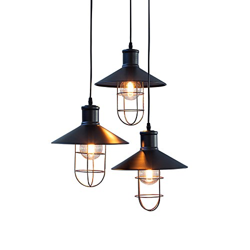 3-flammige Industrie Hängeleuchte FACTORY Metall schwarz mit drei Schirmen höhenverstellbar Industrielampe…