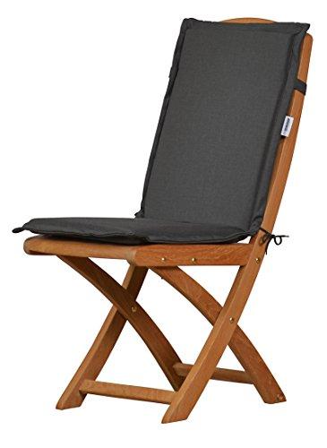 6 x Anthrazit graue Sitzauflage für Garten-Stühle & Klappstühle 88 x 40 cm ✓ Premium Polster-Auflage aus lichtechtem Dralon ✓ Maschinen-waschbares Stuhl-Kissen ✓ Höchster Sitzkomfort für Niedriglehner