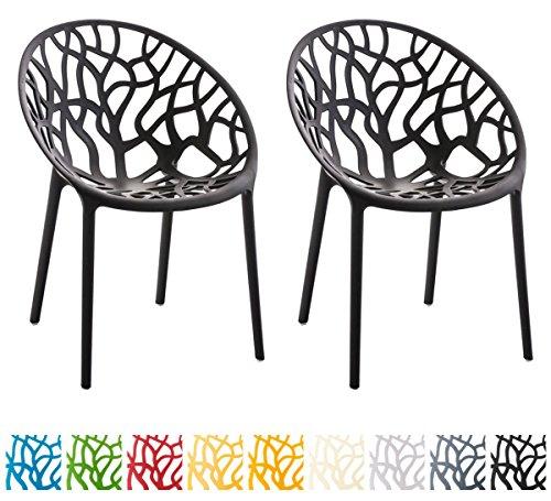 CLP 2er-Set Gartenstuhl Hope aus Kunststoff I 2X Wetterbeständiger Stapelstuhl mit Einer max. Belastbarkeit von: 150 kg I In verschiedenen Farben erhältlich Schwarz