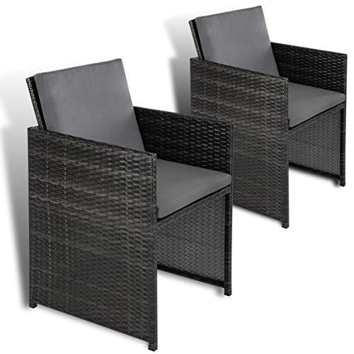ESTEXO 2er Set Polyrattan Gartensessel, Rattan, Gartenstühle, Sessel, Stuhl, Stühle (Grau)