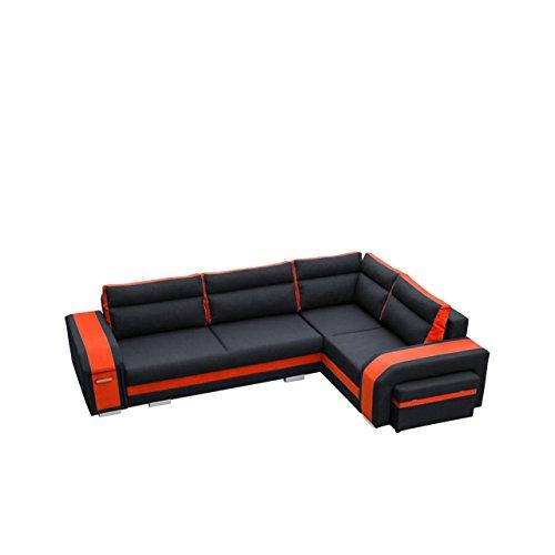 Mirjan24  Ecksofa Assan, Eckcouch mit Bettkasten und Schlaffunktion, Couch Couchgarnitur, Design Schlafsofa, Polsterecke (Ecksofa Rechts, Inari 100 + HC51)
