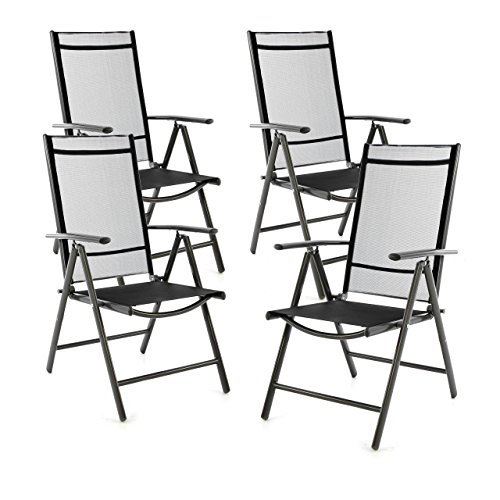 SONLEX 4er Set Klappstuhl Klappsessel Gartenstuhl Campingstuhl Liegestuhl – Sitzmöbel – klappbarer Stuhl aus Aluminium & Kunststoff - schwarz (Textilene) / anthrazit (Rahmen)