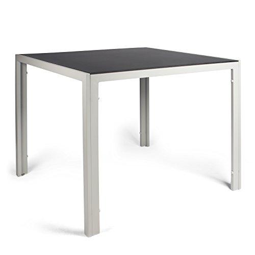 Vanage Aluminium Gartentisch in Grau mit Glatter Glasplatte in Schwarz - Gartenmöbel - Aluminiumtisch für Garten, Terrasse und Balkon Geeignet - 90 x 90 cm