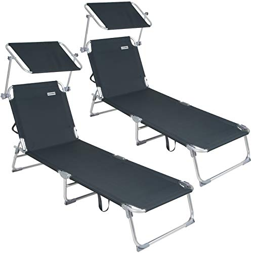 Casaria 2X Sonnenliege Ibiza | Aluminium Sonnendach 190cm Gartenliege Strandliege Alu Liege Freizeitliege | Graphitgrau