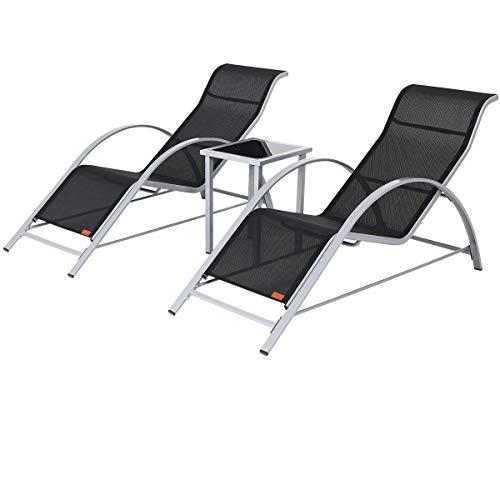 Casaria Lounge Set | 2X Liege inkl. Tisch Stahl 3 TLG | Gartenliege Sonnenliege Liegestuhl Poolliege Relaxliege Liegen