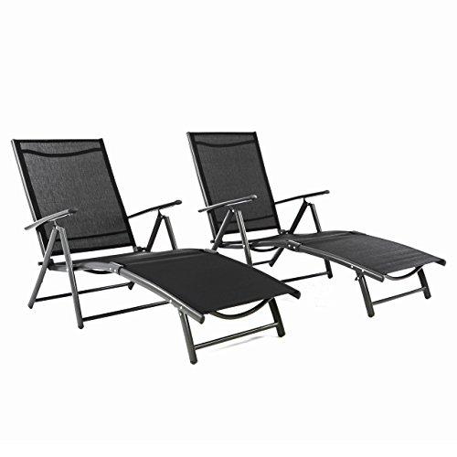 Nexos ZGC34467_SL02 2er Set Gartenliege Sonnenliege Liegestuhl Klappliege – für Terrasse Balkon – klappbare Liege aus Alu & Stahl & Textilene - schwarz anthrazit,