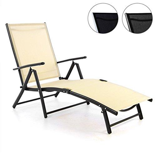Nexos ZGC34468 Gartenliege Sonnenliege Liegestuhl Klappliege – für Terrasse Balkon – klappbarer Gartenstuhl aus Alu & Stahl & Textilene - Creme Anthrazit,