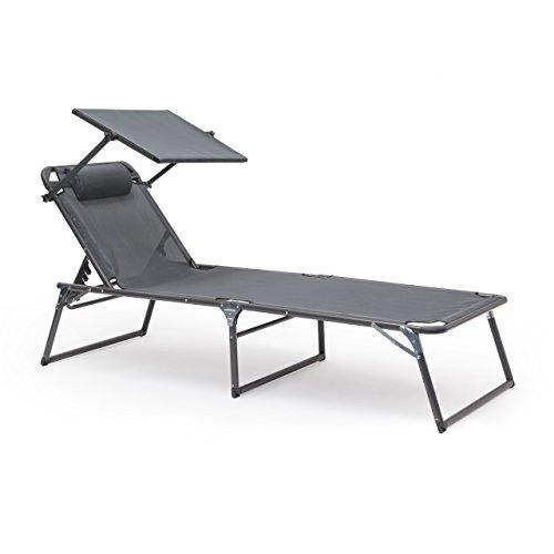 Relaxdays Gartenliege klappbar, Sonnenliege Dach, Deckchair, Sonnenschutz, verstellbar, HBT: 37 x 70 x 200 cm, anthrazit