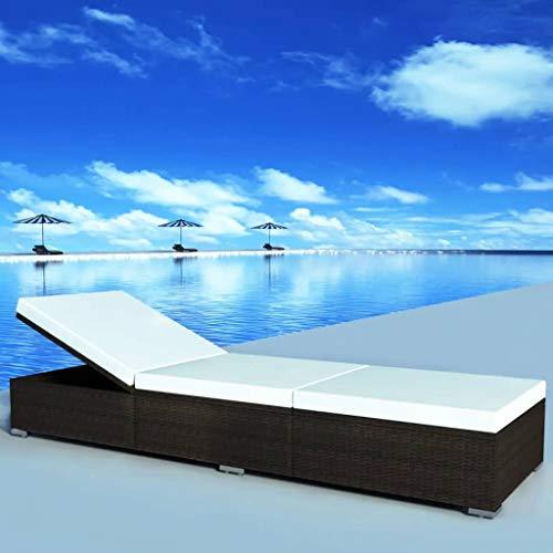Tidyard- Sonnenliege Poly Rattan 195 x 60 x 31 cm Gartenliege Polyrattan und Stahlrahmen | Relaxliege Liege Strandliege Gartenmöbel