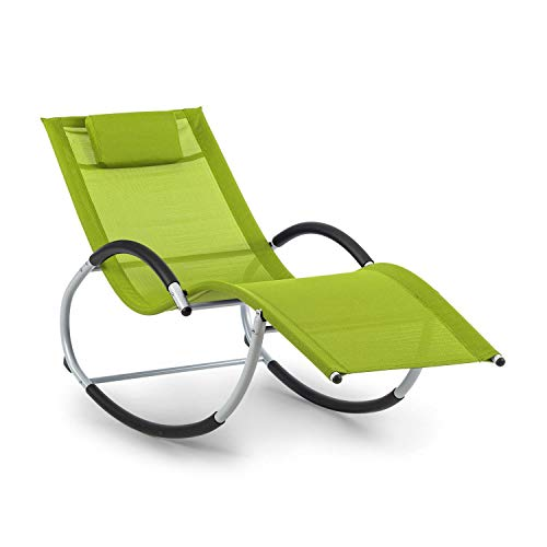 blumfeldt Westwood Rocking Chair Schaukelliege • ergonomisch geformt • Material: Comfort Mesh 70% PVC + 30% Polyester • Ergo Comfort • Gestell aus Aluminium • inklusive Kopfkissen • grün