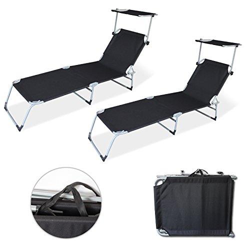 wolketon Gartenliege liegestuhl strandliege sonnenliege klappbar Freizeitliege Rückenlehne und Sonnendach verstellbar Freizeitliege 2X