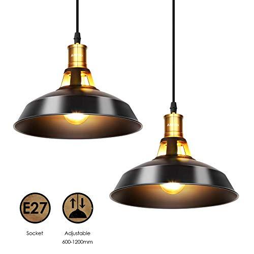 Albrillo 2er Pack Industrielle Vintage Pendelleuchte Retro Hängeleuchte Ducrhmesser 27cm für E27 Leuchtmittel, Schwarz…