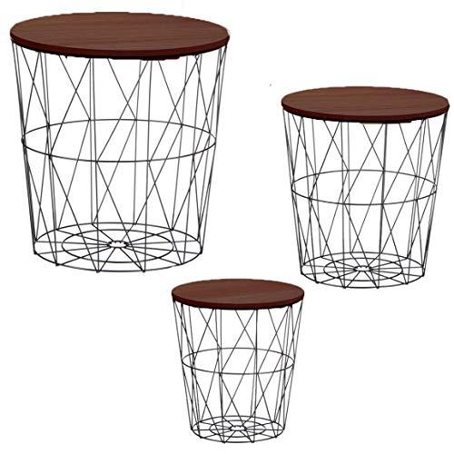 Bada Bing 3er Set Metall Korb Beistelltisch Mit Dunkelbrauner Tischplatte Metallkorb Couchtisch Kaffeetisch Wohnzimmertisch Modern Rund Dunkles Holz Design Tisch 3 Größen 47 NEU