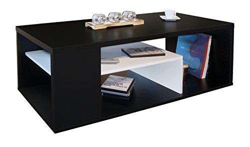 Berlioz Creations Melinga Couchtisch Holz, Schwarz und Weiß, 111x50,5x41 cm