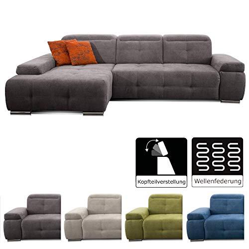 CAVADORE Ecksofa Mistrel mit Longchair XL links / Große Eck-Couch im modernen Design / Inkl. verstellbaren Kopfteilen…