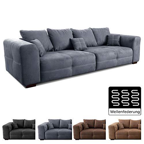 Cavadore Big Sofa Mavericco / XXL Couch im modernen Design  / Inklusive Rückenkissen und Zierkissen / 287 x 69 x 108 cm (BxHxT) / Mikrofaser Grau