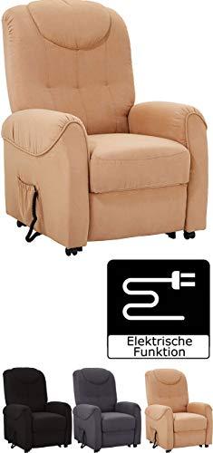 Cavadore TV-Sessel Basta mit elektrischer Liegefunktion / Fernsehsessel mit verstellbarer Rückenlehne / 75 x 110 x 92 / Mikrofaser Braun