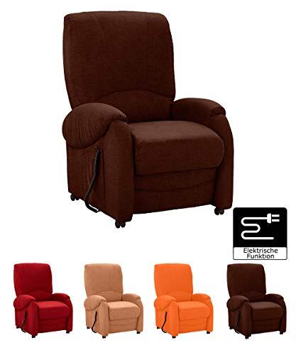 Cavadore TV-Sessel Trento mit Liegefunktion/Fernsehsessel mit elektrisch verstellbarer Rückenlehne und Fußstütze / 75 x 107 x 96 cm / Mikrofaser braun