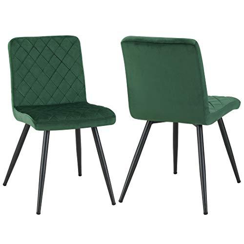Duhome 2er Set Esszimmerstuhl Grün Stoff Samt Stuhl Retro Design Polsterstuhl mit Rückenlehne Metallbeine Farbauswahl 8043L