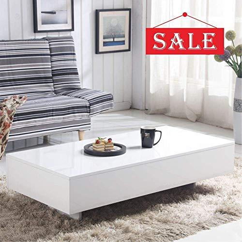 GOLDFAN Weißer Glanz Couchtisch Hochglanz Beistelltisch lässiger Couchtisch Hochglanzmöbel Couchtisch im Modernen Stil, Sofa Tisch für Wohnzimmer , Weiß,115 x 55 x 31 cm
