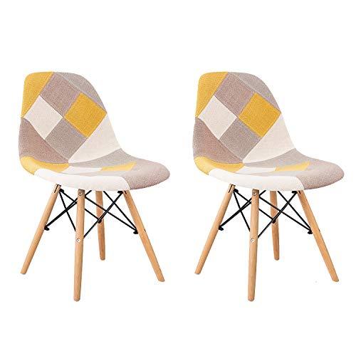 MIFI Retro Patchwork Stuhl 2er Set Stoff Esszimmer Lounge Stühle Multicolor Eiffel Esszimmerstuhl aus Holz Home Office Esszimmerstuhl (gelb)