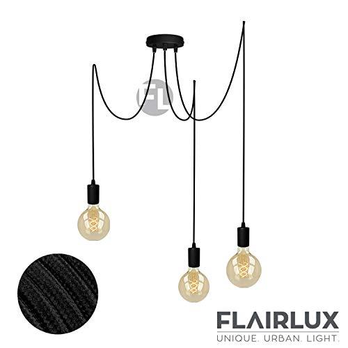 Pendelleuchte schwarz Metall 3 flammig | E27 Fassung, höhenverstellbares Textilkabel, 3x Deckenpins für den…