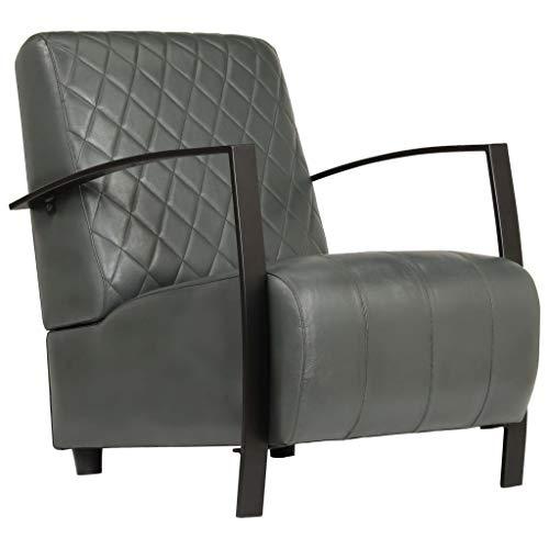 Tidyard Vintage Ledersessel Braun Echtleder Sessel Design Lounge Clubsessel Sofa Kinosofa Kinositz 65 x 75 x 82 cm, Grau/Braun