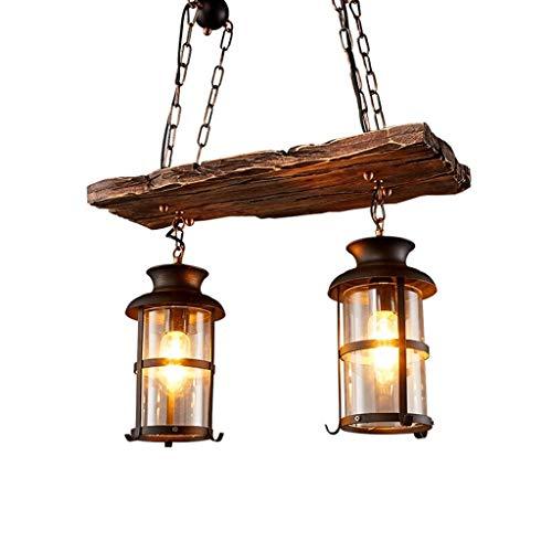 Vintage Industrial Metall Pendelleuchte Leuchte, JOJOM Vintage Holz Kronleuchter 2 Kopf Vintage Industrial Style Retro…