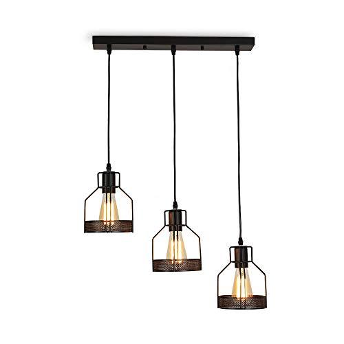 Vintage Retro Edison Loft Pendelleuchte,Retro Industrielle Deckenleuchte Eisen,Deckenpendelleuchte für Küche Esszimmer (3-Licht)