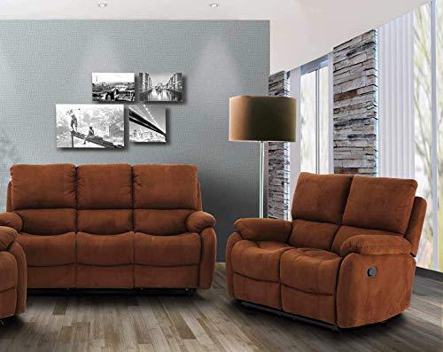 lifestyle4living Couchtgarnitur in braunem Microfaser mit praktischer Relaxfunktion, Garnitur bestehend aus 2-Sitzer und 3-Sitzer Sofa, manuelle Starthilfe