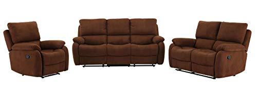 lifestyle4living Couchtgarnitur in braunem Microfaser mit praktischer Relaxfunktion, Garnitur bestehend aus Sessel, einem 2-Sitzer Sofa und einem 3-Sitzerm Sofa
