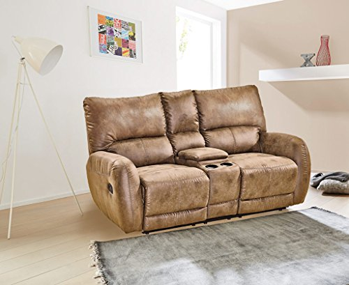 lifestyle4living Kinosessel, 2 Sitzer, Cinema - Relax Sofa, Heimkino Sessel, TV Sofa, Relaxcouch, Home Cinema, verstellbar, Liegefunktion, Microfaser, braun