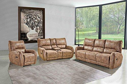 lifestyle4living Polstergarnitur, Sofa, Couchgarnitur, Sofagarnitur, Relaxsessel, Relaxcouch, Home Cinema, verstellbar, Liegefunktion, Microfaser braun