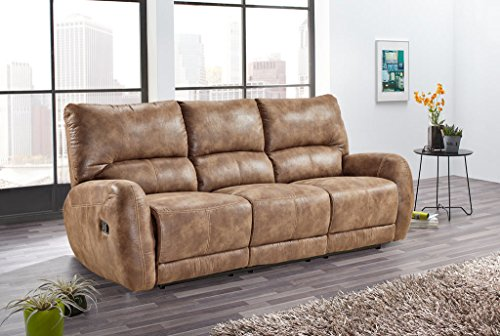 lifestyle4living Sofa, Kinosessel, 3 Sitzer, Cinema - Relax Sofa, Heimkino Sessel, TV Sofa, Relaxcouch, Home Cinema, verstellbar, Liegefunktion, Microfaser, braun