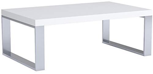 Couchtisch Steel 16733 Wohnzimmertisch Tisch Weiß Hochglanz/Metall