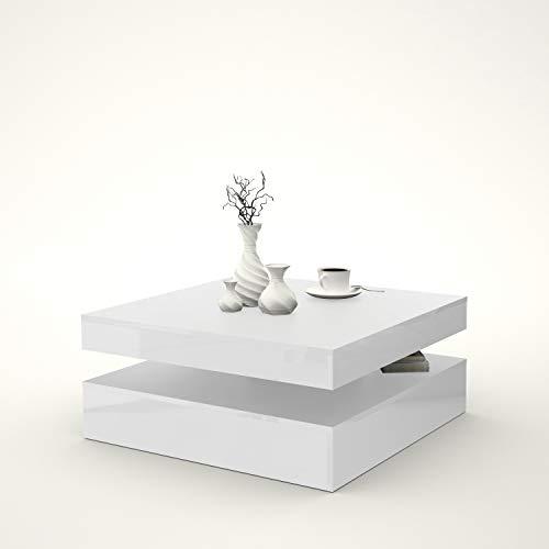 FORTE NEWFACE Wohnzimmer Couchtisch Wohnzimmertisch, Holzwerkstoff, 78 (93) x 34,3 x 78 cm, mit Ablagefläche und rotierender Tischplatte, Hochglanz, Weiß-Matt, One Size