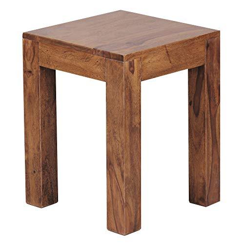 FineBuy Beistelltisch Massiv-Holz Sheesham 35 x 35 cm Wohnzimmer-Tisch Design dunkel-braun Landhaus-Stil Couchtisch Natur-Produkt Wohnzimmermöbel Unikat modern Massivholzmöbel Echtholz Anstelltisch