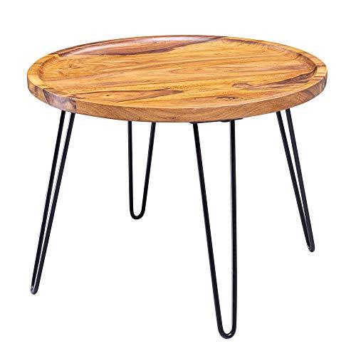 FineBuy Couchtisch Sheesham Massivholz 60x45x60 cm Wohnzimmertisch Rund | Sofatisch mit Haarnadelbeine | Kaffeetisch aus Holz und Metall