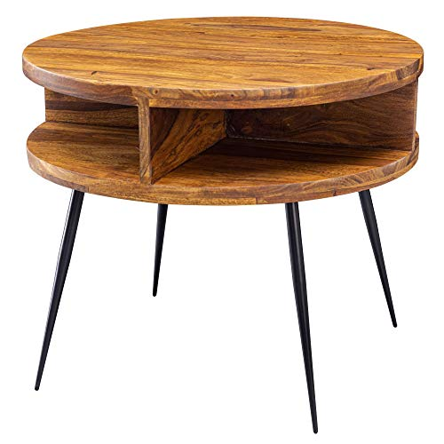 FineBuy Couchtisch Sheesham Massivholz/Metall 60x45x60 cm Tisch Wohnzimmer   Design Beistelltisch mit Ablage   Kleiner Wohnzimmertisch Rund Braun