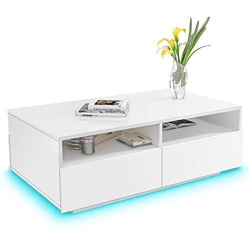 Greensen Couchtisch Weiß Hochglanz Wohnzimmertisch mit 4 Schubladen Sofatisch Beistelltisch mit 16 Farben LED Beleuchtung Kaffeetisch Modern Design Tisch für Wohnzimmer Büro Wohnzimmermöbel