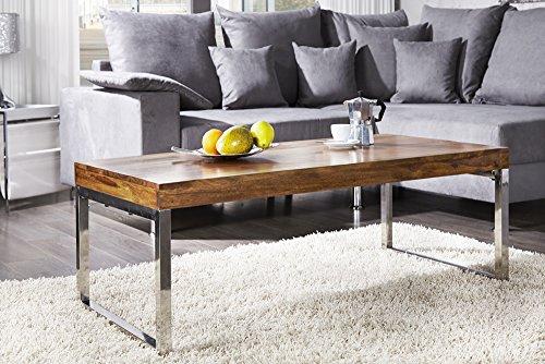 Invicta Interior Moderner Design Couchtisch Elements 100cm Sheesham Stone Finish verchromt Tisch Wohnzimmertisch