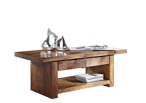 MASSIVMOEBEL24.DE Couchtisch Holz Palisander Sheesham lackiert 140x60x50 cm walnuss Duke #121