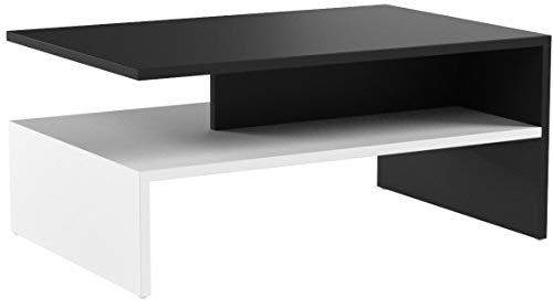 RICOO Couchtisch mit Stauraum WM080-W-A TV Wohnzimmertisch Kaffeetisch Beistelltisch Wohnzimmer Couch Tisch Klein Viereckig Rechteckig Modern Design   Holz Hell Weiß & Dunkel Grau Anthrazit